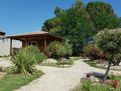 """Photo for Nice """"Chardonnay"""" fully air-conditioned chalet in Ruoms with beautiful terrace"""