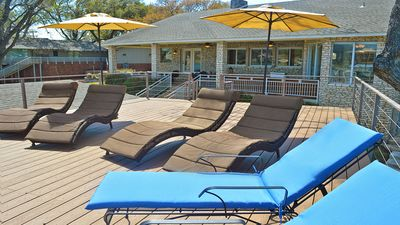 Comfy loungers to sit out and enjoy the lake