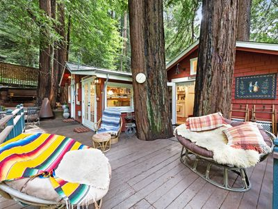 Photo for Charming and colorful cabin w/furnished deck and forest views!