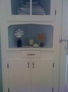 Antique Corner Cupboard for Linens and Supplies