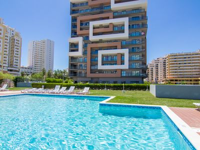 Photo for LUXURY 2 BEDROOM APARTMENT, 150 M FROM THE BEACH C / Pool, Sea View, Garage and Wi Fi