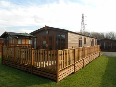 View of lodge and decking area