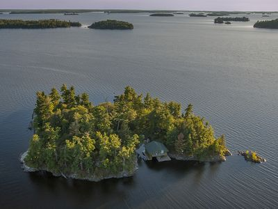 Photo for Remote wilderness island with comfortable fishing cabin