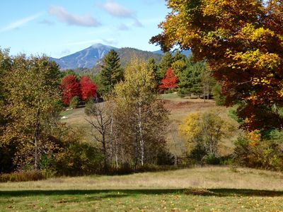 Whiteface from the picture windows, deck & backyard. You can see the slopes!