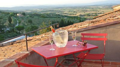 Photo for Beautifully restored villa with views in historic town in the heart of Tuscany