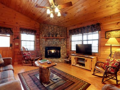 Photo for Cabin in the woods w/ mountain views, decks, outdoor firepit, paved road access!