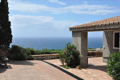 Front porch with the Mediterranean beyond