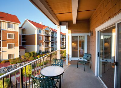 The balcony on our 1,555 square-foot, 3-bedroom, 2-bathroom condo is a guest fav