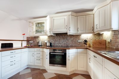 Kitchen with everything you will need, an American coffee pot, touster...