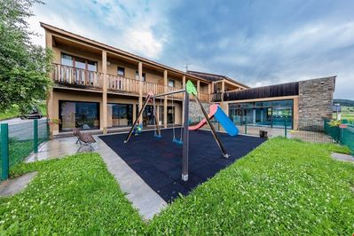 Perfect for families, your little ones will enjoy playing on the playground and running around in the grass