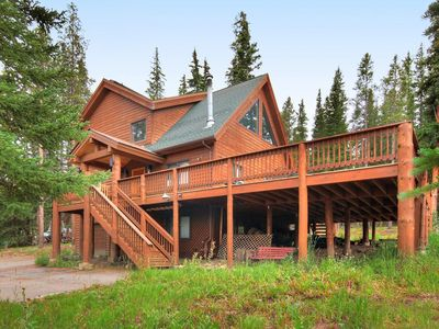 Photo for Mountain Chic Log Home with a Grand Deck and private Garden Basement Bedroom/Den