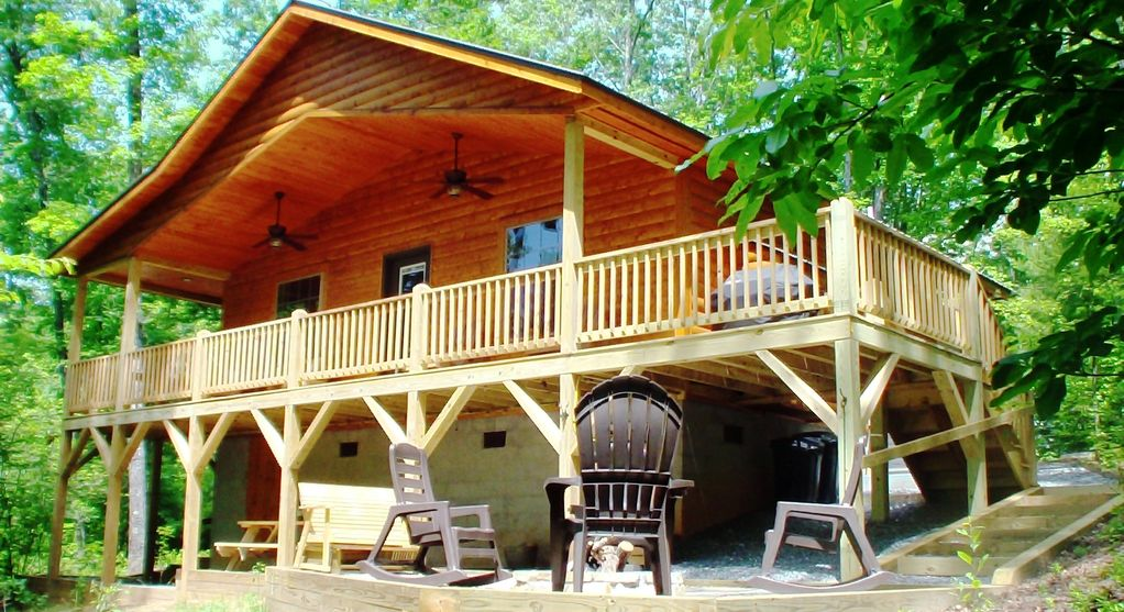 small cabin cottage private waterfall with cabins rentals rental on acres murphy br vacation nc