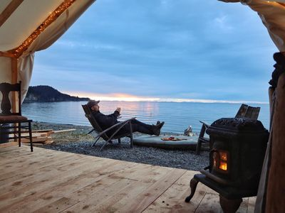 Photo for Beachfront Glamping Tent, Beautiful Wilderness, Mountain views, King Size Bed