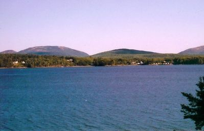 View from lawn, showing Cadillac Mountain. Salisbury Cove is 1 1/4 miles across.