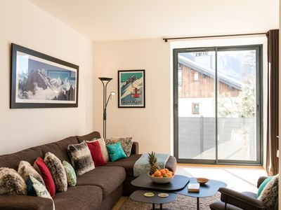 Photo for Newly renovated, central ground floor apartment with patio & views of Mont Blanc
