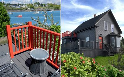Photo for Stylish cottage with panoramic views of water and working harbor