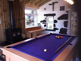 New pool table and pool room. With log burner.