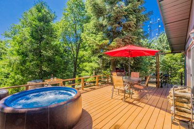 Relax in the year round hot tub after a hike in Palomar Mountain State Park.