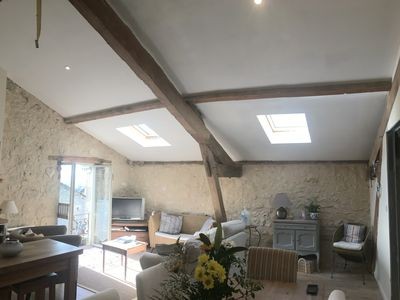 Photo for Beautiful barn conversion , sleeps 3 with stunning views, pool and Pilates!