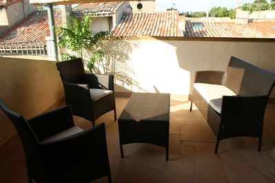Loggia/roof terrace with views of Carcassonne Cite.
