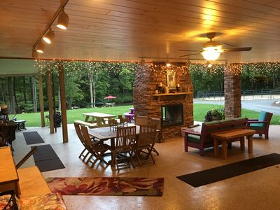 Attached Outdoor Den / Covered Pavilion Area With Wood Burning Fireplace