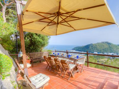Photo for Panoramic Villa with Terrace, natural rock Solarium and barbeque area