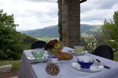 Terrace of La Luna, with views of valley, gardens and pool
