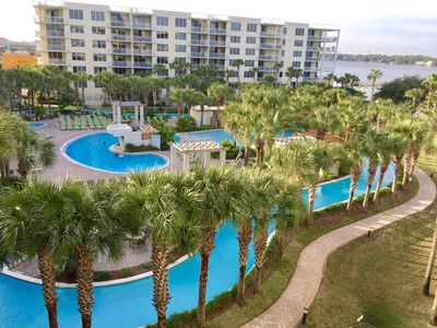 The gorgeous view over looking the lazy river and Bay right off of the balcony!