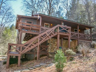 Photo for This two bedroom, one bath cabin is a unique and quaint cabin built in the woods, on a creek close t