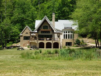 Photo for Estate Living Luxury Mtn Home on 90 Acres Hot Tub - A River Runs Through It