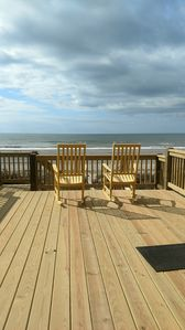 Large porch with amazing ocean view. Great for rocking or sunbathing.