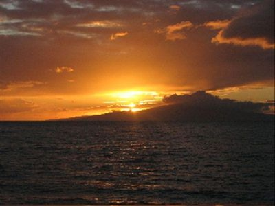 A typical sunset over the island of Lana'i.  Taken on our lanai.