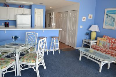 Living Room.  All condo furniture - Henry Link.  Bright beach colors throughout.