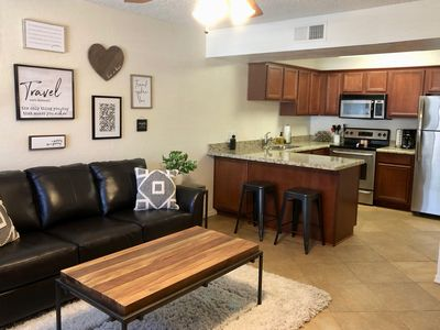 """Photo for NEW TO VRBO! """"The Getaway"""" Updated & Newly Furnished End Unit Condo."""
