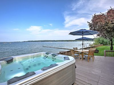 Photo for Waterfront Suttons Bay Home w/Hot Tub & Prvt Beach