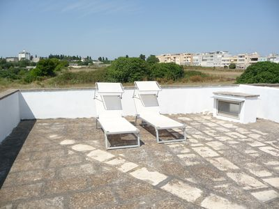 Sunloungers on large private roof terrace with 270 degree views & lovely sunsets