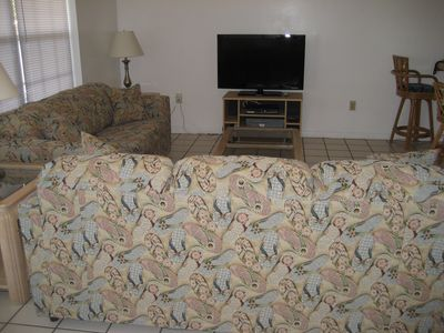 Queen Sleeper in sofa and 40 in. flat screen HD plus high speed internet