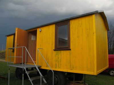 Photo for Caravan 2 right side, 1 room with 2 beds - Caravans in Wangeliner garden with summer kitchen - use