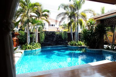 Great Private Pool with Waterfall Feature