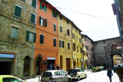 The apartment is located near Porta San Pietro along central Cavour Boulevard