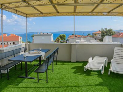 Photo for Roof Terrace Apartment with 360 Panoramic View next to the Beach in Kaštela