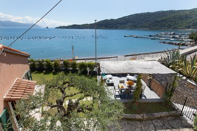 La Villetta, entrance, terrace, garden and the beach below