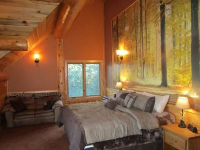 Photo for Striking 620 sq. ft. private suite on the upper floor of an amazing modern log home.