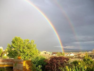 Photo of double rainbow from front patio area