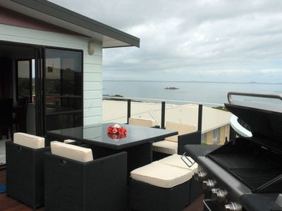 Photo for Stunning beach house at Coopers Beach overlooking Doubtless Bay