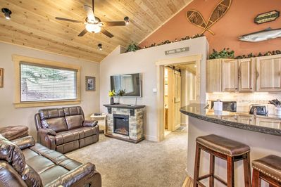 Turn up the heat with the fireplace in the living room.