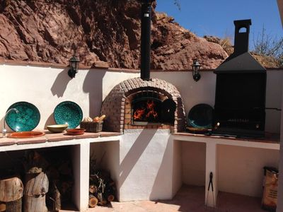 NEW ! Brick built bbq and oven with hand crafted wash basin and tap outside