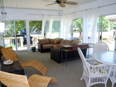 Very large three season porch perfect for meals and quiet relaxation.