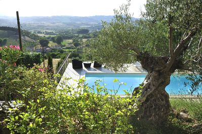 View of the pool and the terrace valley