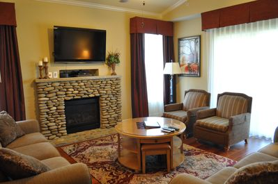 Living Room with propane fire place